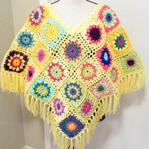NEW Boho Crocheted Hip Granny Square Poncho NWT